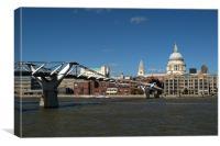 Millennium Bridge and St Pauls, Canvas Print