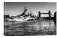 HMS Belfast and Tower Bridge 2 in Black and White, Canvas Print