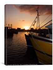 Sunset over Sutton Harbour Plymouth      , Canvas Print