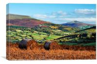 Sugarloaf and Pen Cerrig Calch in autumn., Canvas Print