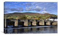 Crickhowell Bridge and Pen Cerrig Calch in autumn., Canvas Print