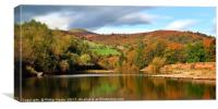 Sugarloaf and the River Usk in Autumn., Canvas Print