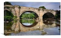 Green Bridge, Richmond, reflection in River Swale., Canvas Print