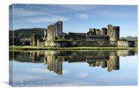 Caerphilly Castle early morning reflection in moat, Canvas Print