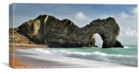 Durdle Dor in Dorset with an incoming tide., Canvas Print