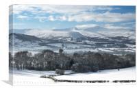 Pen Y Fan and Cribyn, Brecon Beacons in winter., Canvas Print