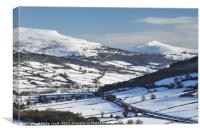 Sugarloaf and Pen Cerrig Calch in Winter., Canvas Print