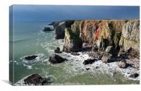Stack Rocks near Castlemartin, Pembrokeshire., Canvas Print