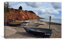Rowing Boats at Sidmouth., Canvas Print