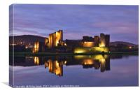 Caerphilly Castle floodlit reflection in moat., Canvas Print