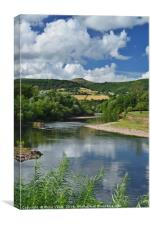 Sugarloaf and River Usk in Summer at Abergavenny., Canvas Print