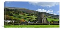Tretower Castle and Pen Cerrig Calch in Autumn., Canvas Print