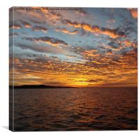 Orange Sunset Seascape, Lake Macquarie., Canvas Print