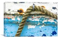 Rope on old boat, Canvas Print