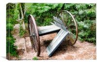 Old wagon wheel cart, Canvas Print