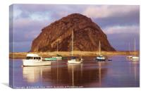 Morro Rock with boats in foreground, Canvas Print
