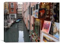 Art on a Venice canal                             , Canvas Print