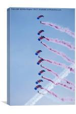 RAF parachute team in free fall. , Canvas Print