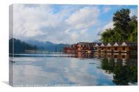Floating village set on a lake in Khao Sok, Thaila, Canvas Print