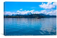 Beautiful lake landscape with jungle covered mount, Canvas Print