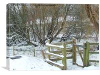 Winter Kissing Gate, Canvas Print
