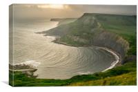 Sunset at Chapmans Pool on the Jurassic Coast in D, Canvas Print