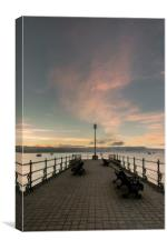 Sunrise at Banjo Pier in Swanage, Canvas Print