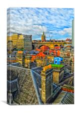Across the Roof Top's of Newcastle, Canvas Print
