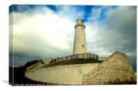 St Marys Lighthouse at Tynmouth Whitley bay, Canvas Print