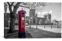 The Little Red Pillar Box in Durham, Canvas Print