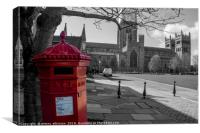 The Little Red Pillar Box in Durham, Canvas Print