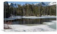 Frozen River High in Rockies, Canvas Print