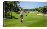 Woman Playing Golf - Algarve - Quinta do Lago, Canvas Print