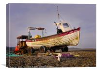 Working Lobster Boat and Tractor, Canvas Print