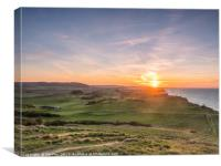 Sunset over Sheringham Golf Course, Canvas Print