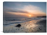 Sun Up Happisburgh Beach, Canvas Print