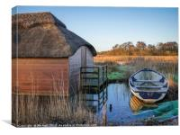 Row Boat and the Thatcher Hickling Broad, Canvas Print