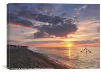 Sunset at Weybourne Beach, Canvas Print
