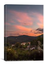 Sunset in the Hills of Herault France, Canvas Print