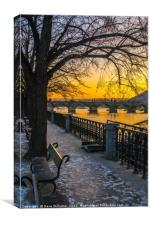 Prague Sunset over Vitava river, Canvas Print