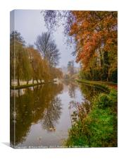 Walking the Canal towpath in Autumn, Canvas Print
