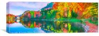 Autumn forest reflected in the water lake, Canvas Print