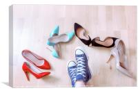 Pair of sneaker surrounded by elegant shoes, Canvas Print