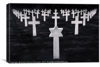 White stone graves disposed symmetrically, Canvas Print