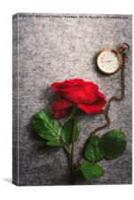 Red rose and a vintage pocket clock, Canvas Print
