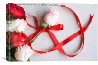 Roses and red ribbon in shape of infinity, Canvas Print