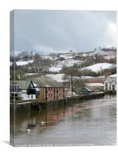 Snow on the River Dart at Totnes, Canvas Print