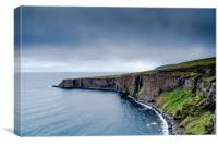 Iceland cliffs at dusk over the sea, Canvas Print