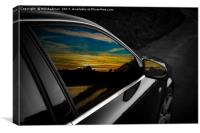 Sunset reflections in Audi window and mirror, Canvas Print
