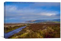 Porlock hill looking down to The sea, Canvas Print
